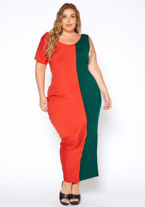 Asoph Plus Size Asymmetrical Color Splice Balloon Hem Dress