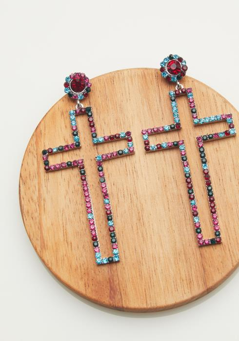 Multi Color Rhinestone Cross Drop Earrings