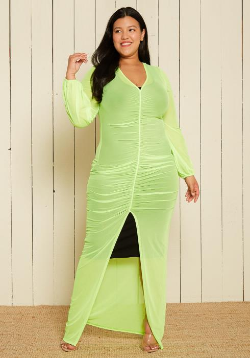 Asoph Plus Size Sheer Ruched Maxi Dress