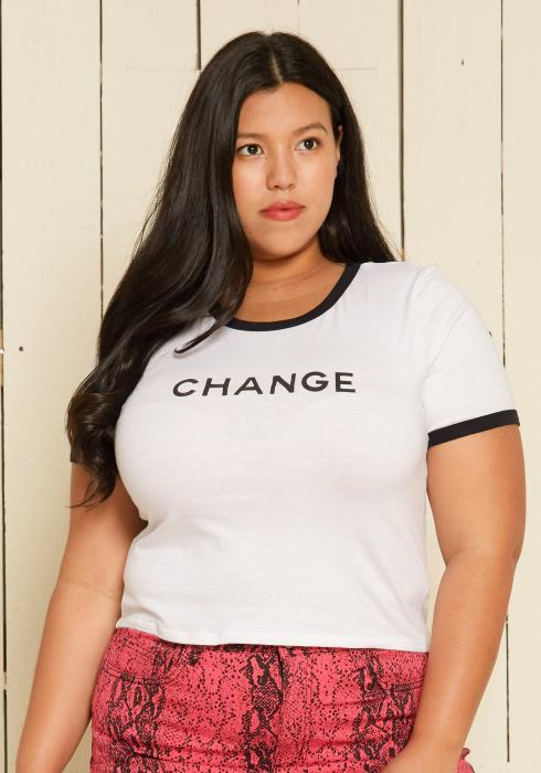 Asoph Plus Size Short Sleeve Crop Top