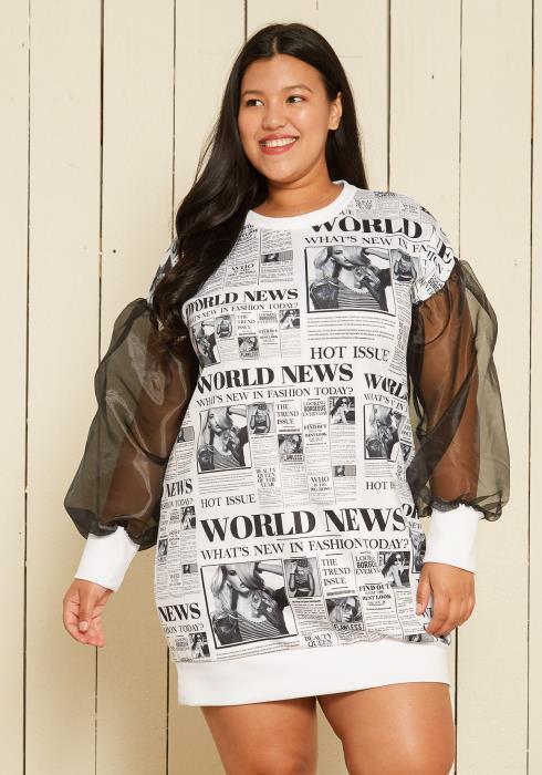 Asoph Plus Size Headline Print Sweater Dress