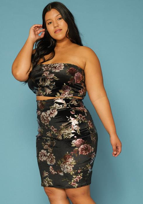 Asoph Plus Size Floral Print Velvet Tube Top & Skirt Two Piece Set