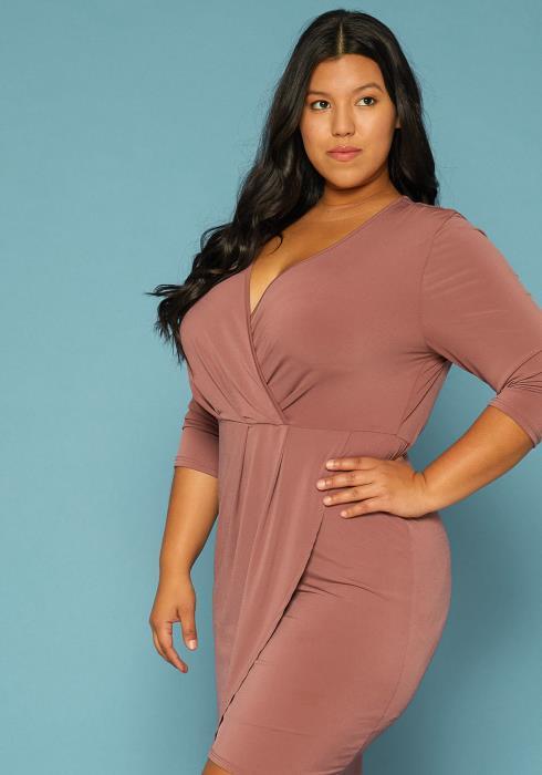 Asoph Plus Size asymmetrical Surplice Dress