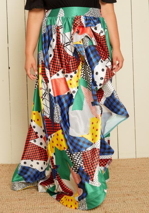 Asoph Plus Size Multi Print Maxi Hi-Lo Skirt
