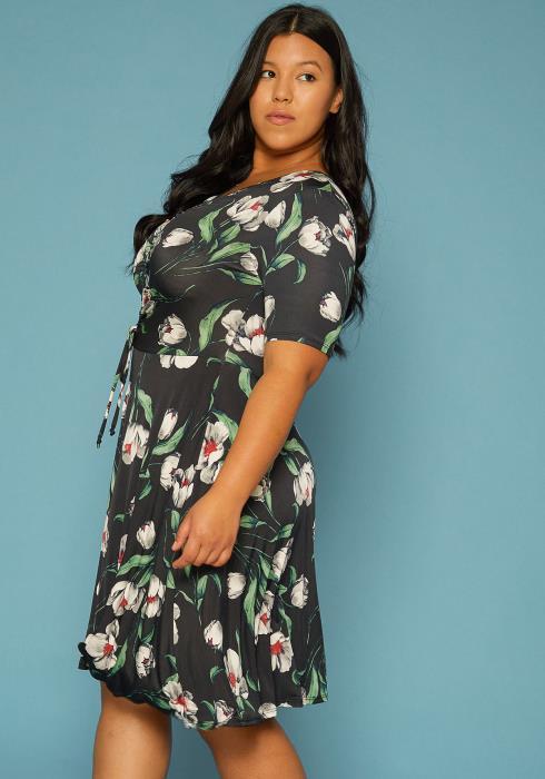 Asoph Plus Size Floral Print Dress