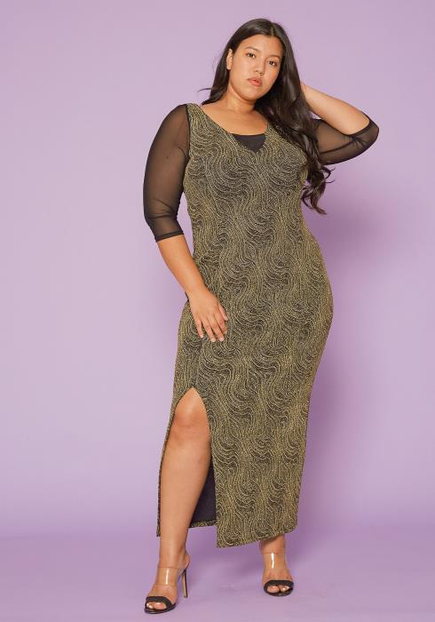 Asoph Plus Size Gold Glitter Maxi Dress
