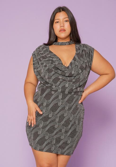 Asoph Plus Size Glitter Sheath Dress