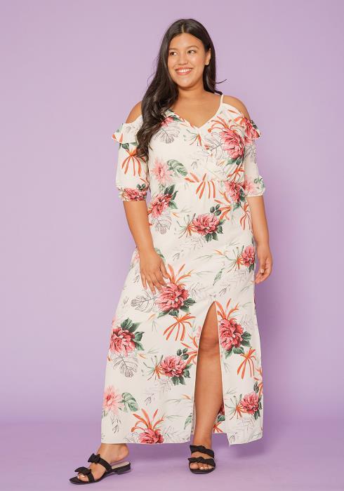 Asoph Plus Size Open Shoulder Maxi Dress