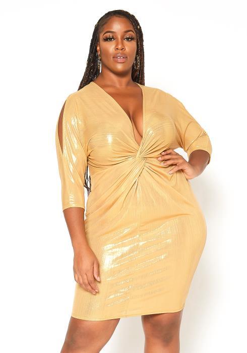 Asoph Plus Size Golden Party Dress