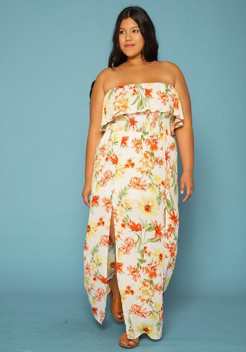 Asoph Plus Size Strapless Floral Maxi Dress