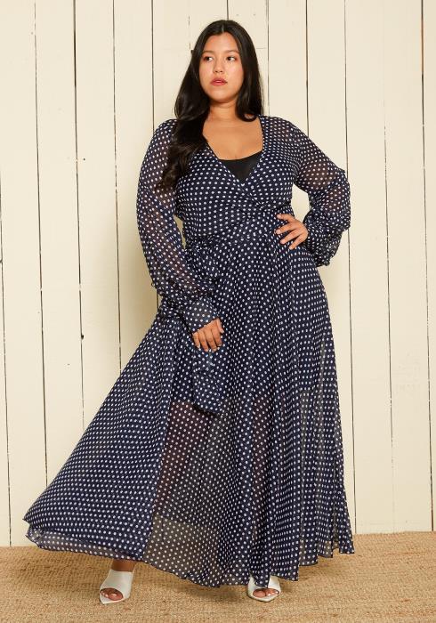 Asoph Plus Size Polka Dot Maxi Dress