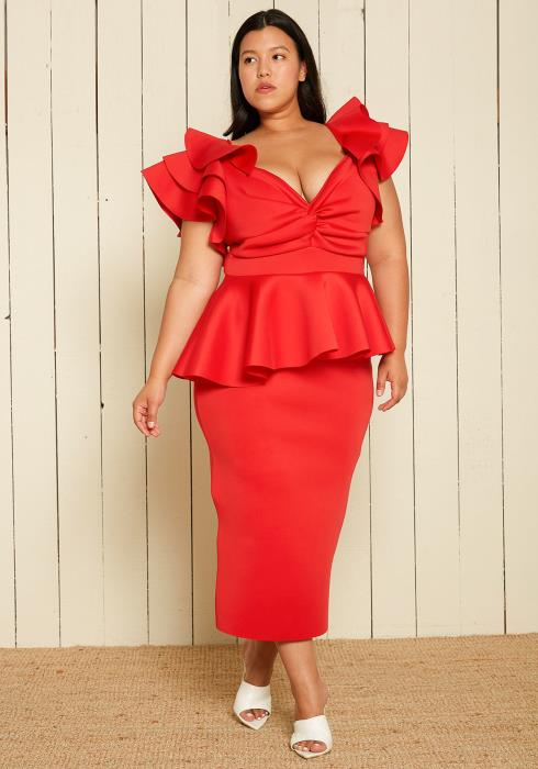 Asoph Plus Size Peplum Maxi Dress