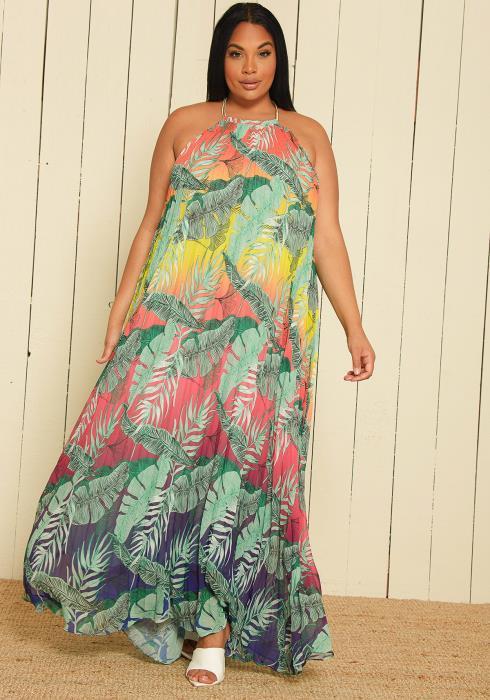 Asoph Plus Size Halter Maxi Dress