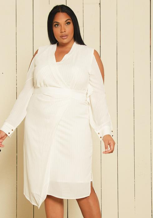 Asoph Plus Size Stripe Wrap Dress