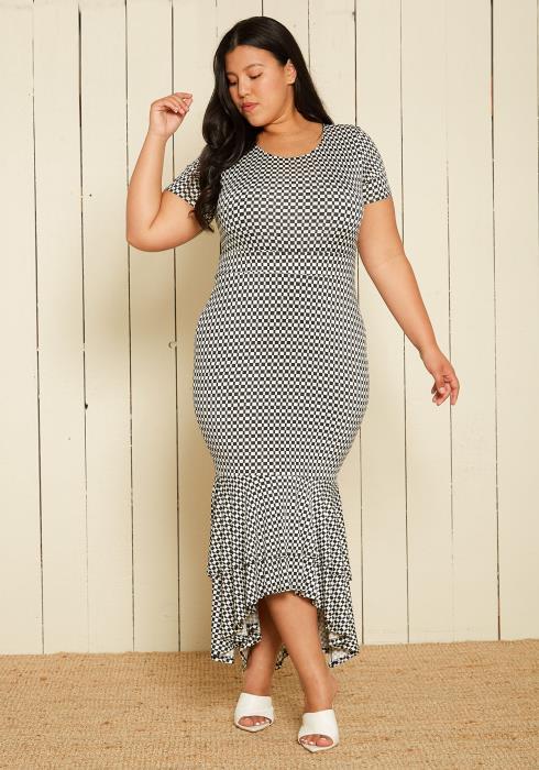 Asoph Plus Size Checkered Mermaid Dress