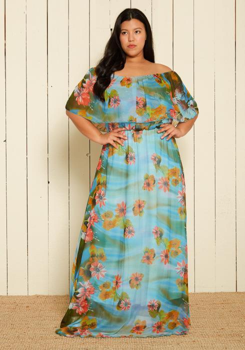 Asoph Plus Size Off Shoulder Maxi Dresses