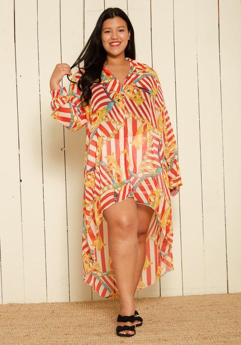 Asoph Plus Size Sheer Multi Print Hi-Lo Dress