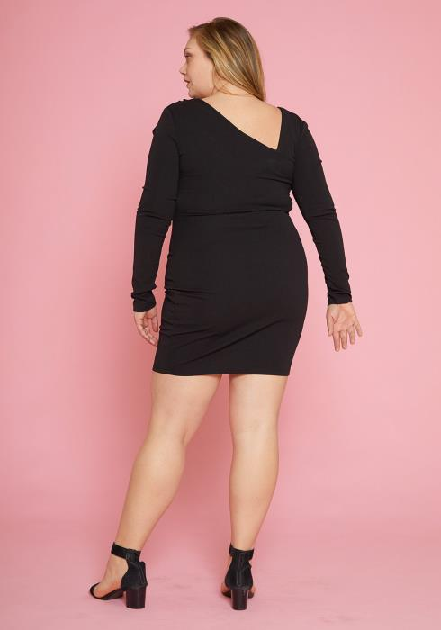 Asoph Plus Size Long Sleeve Ruffle Dress