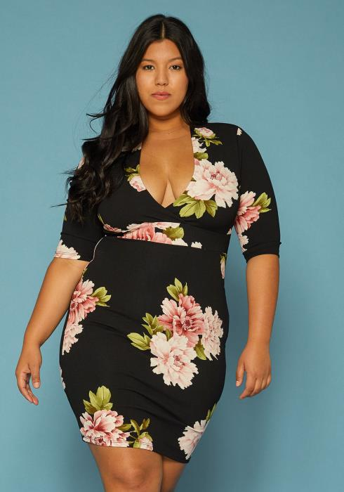 Asoph Plus Size Floral Print Bodycon Dress