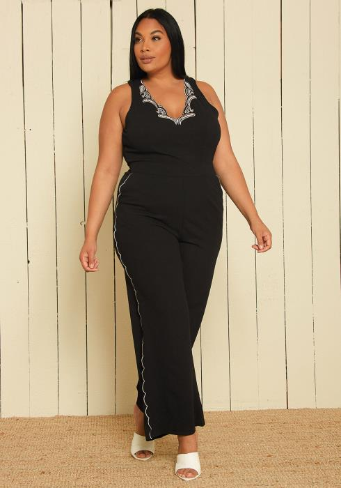 Asoph Plus Size Embroidered Jumpsuit