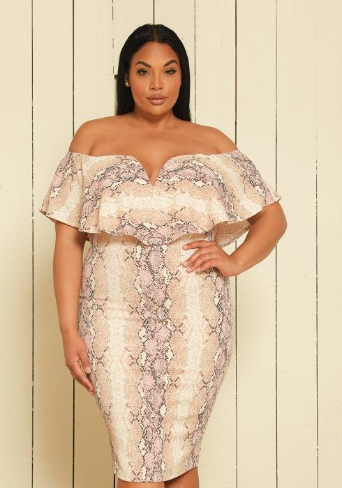 Asoph Plus Size Off Shoulder Bodycon Dress