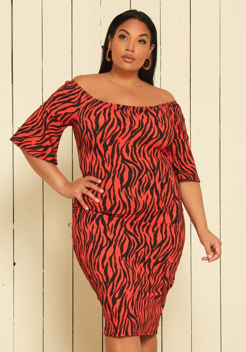 Asoph Plus Size Off Shoulder Midi Dress