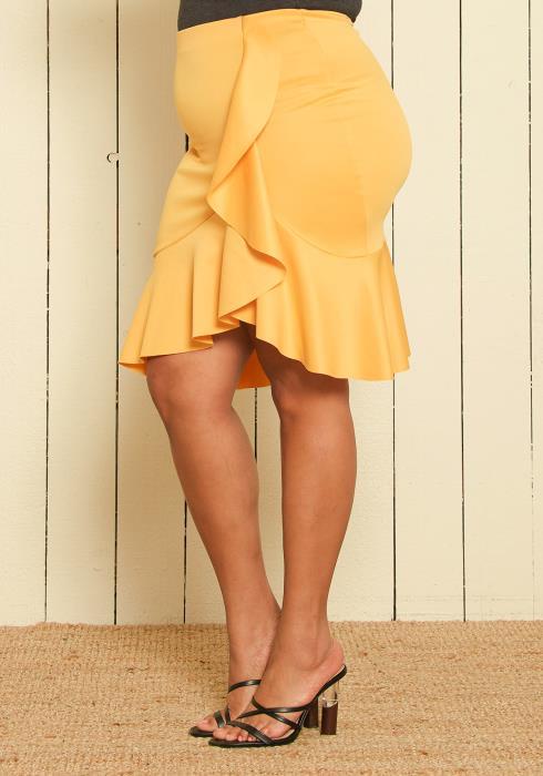 Asoph Plus Size Ruffle Trumpet Skirt
