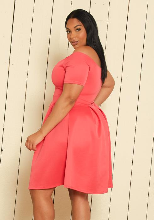 Asoph Plus Size Off Shoulder Flare Dresses