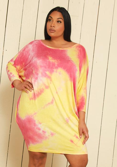 Asoph Plus Size Tie Dye Midi Dresses