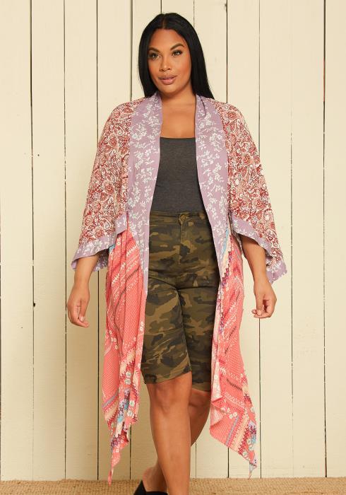 Asoph Plus Size Multi Print Cardigan