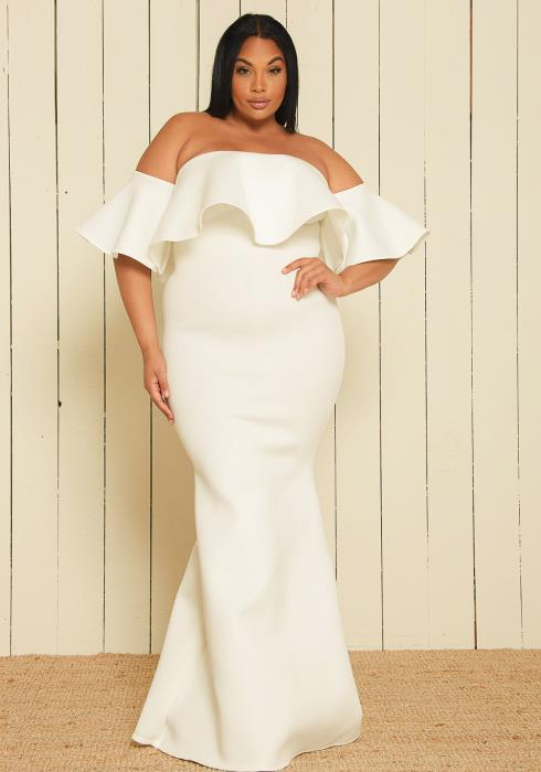 Asoph Plus Size Off Shoulder Maxi Dress