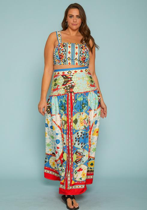 Asoph Plus Size Crop Top & Maxi Skirt Set