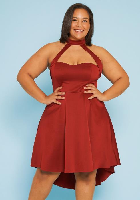 Asoph Plus Size High Waist Party Dress