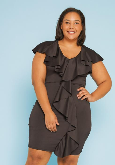 Asoph Plus Size Ruffle Bodycon Dress