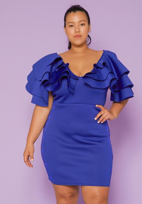 Asoph Plus Size Ruffle Shoulder Lace Trim Party Dress
