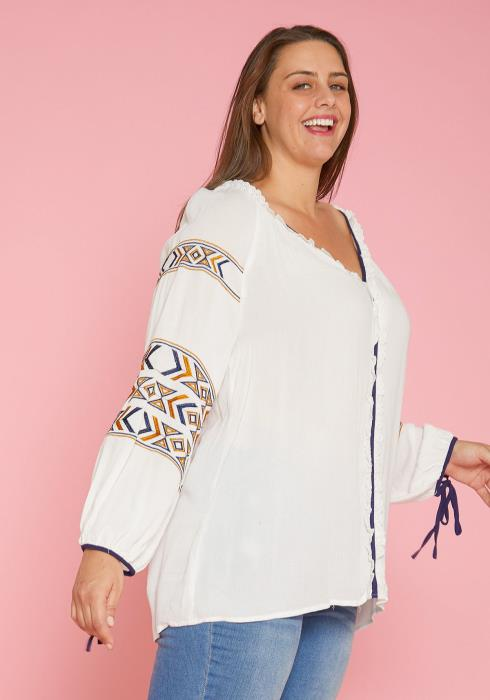Asoph Plus Size Embroidered Blouse