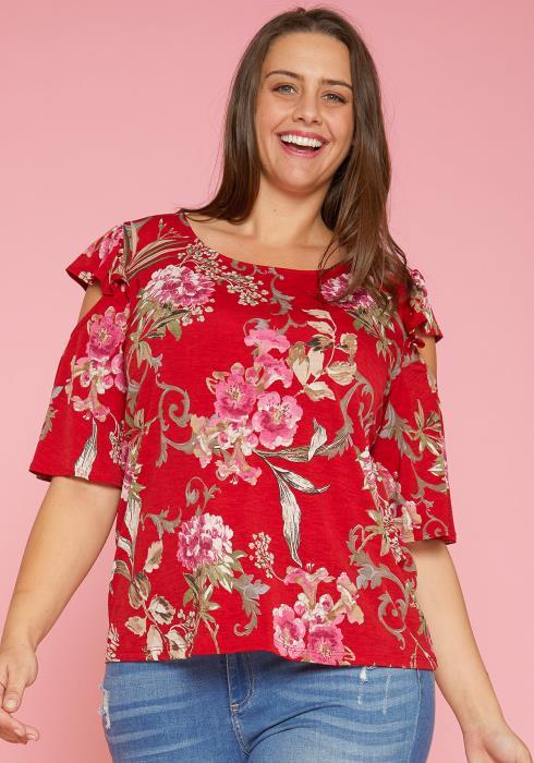Asoph Plus Size Floral Print Open Shoulder Blouse