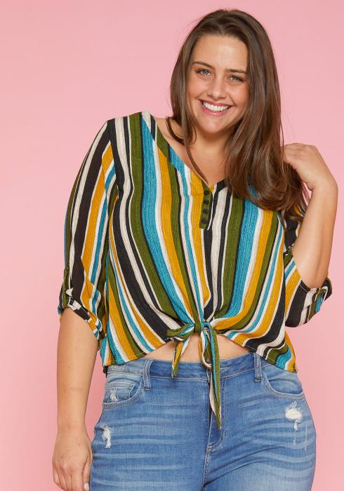 Asoph Plus Size Stripe Crop Top