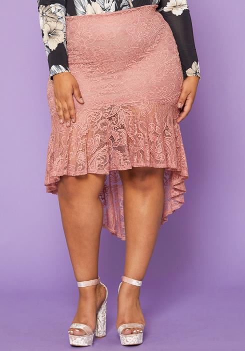 Asoph Plus Size Lace Trumpet Skirt
