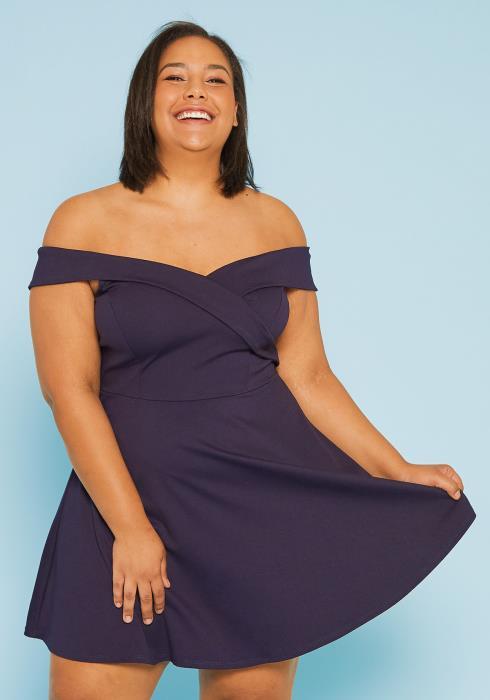 Asoph Plus Size Off Shoulder Flare Dress