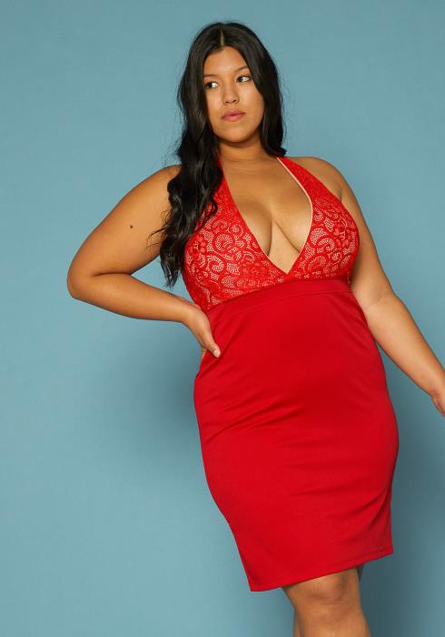 Asoph Plus Size Plunging Bodycon Dress