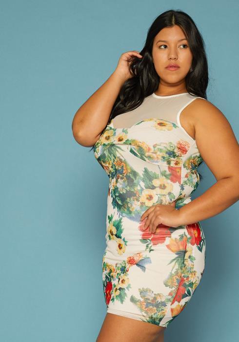 Asoph Plus Size Floral Print Mesh Bodycon Dress