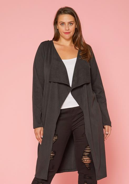 Asoph Plus Size Ribbed Long Cardigan