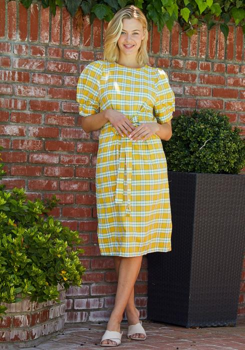 Tansy Plaid Midi Dress
