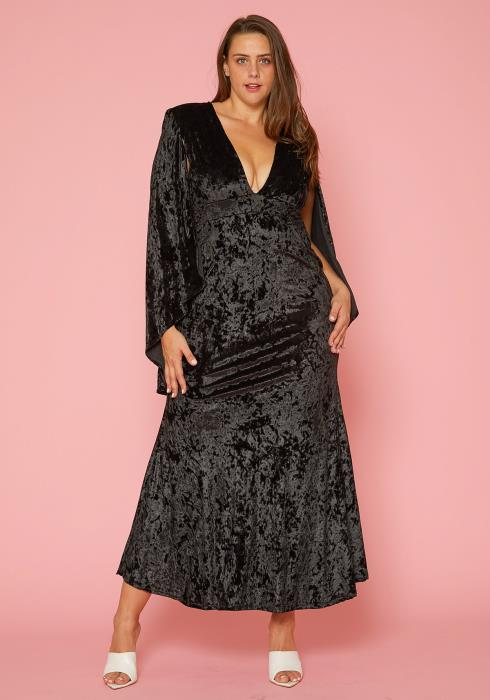 Asoph Plus Size Velvet Cape Sleeve Maxi Dresses