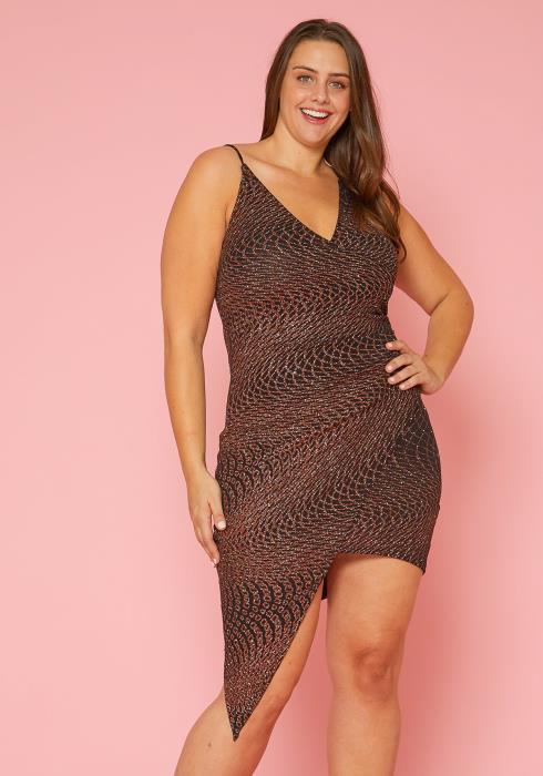 Asoph Plus Size Glittered Bodycon Dress