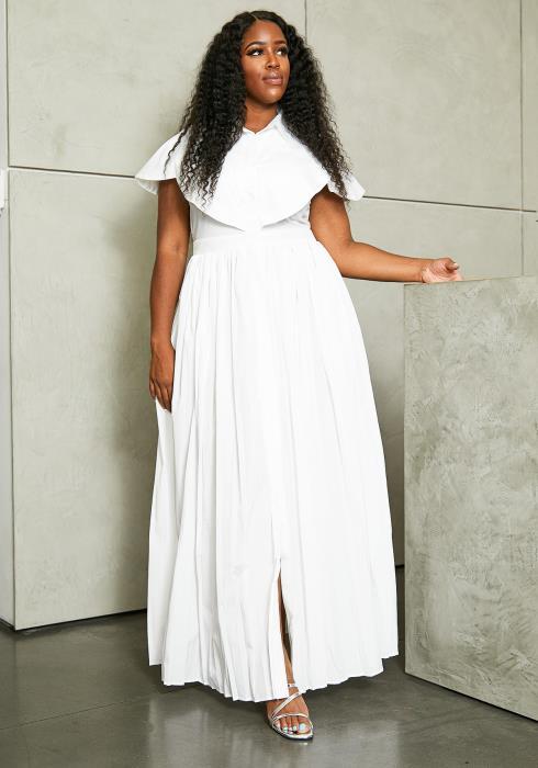 Asoph Plus Size Pleated Maxi Dress
