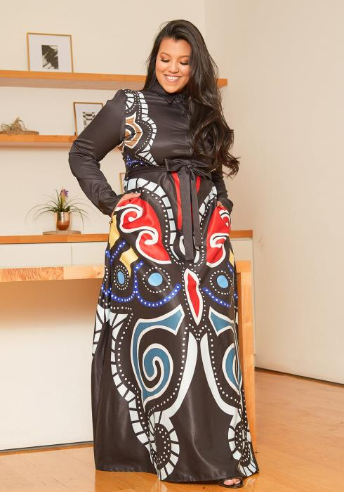 Asoph Plus Size Multi Print Maxi Dress