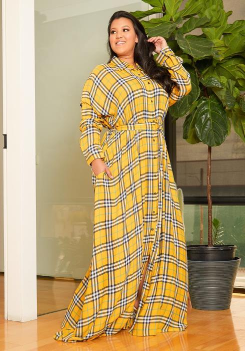 Asoph Plus Size Plaid Flare Maxi Dress