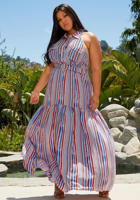 Asoph Plus Size Stripe Maxi Dress